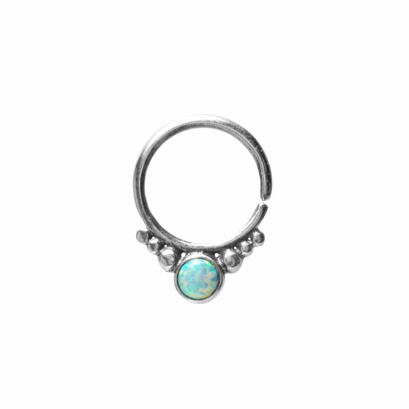 Tribal Silver Septum Ring with White Opalite Stone 'Kota'