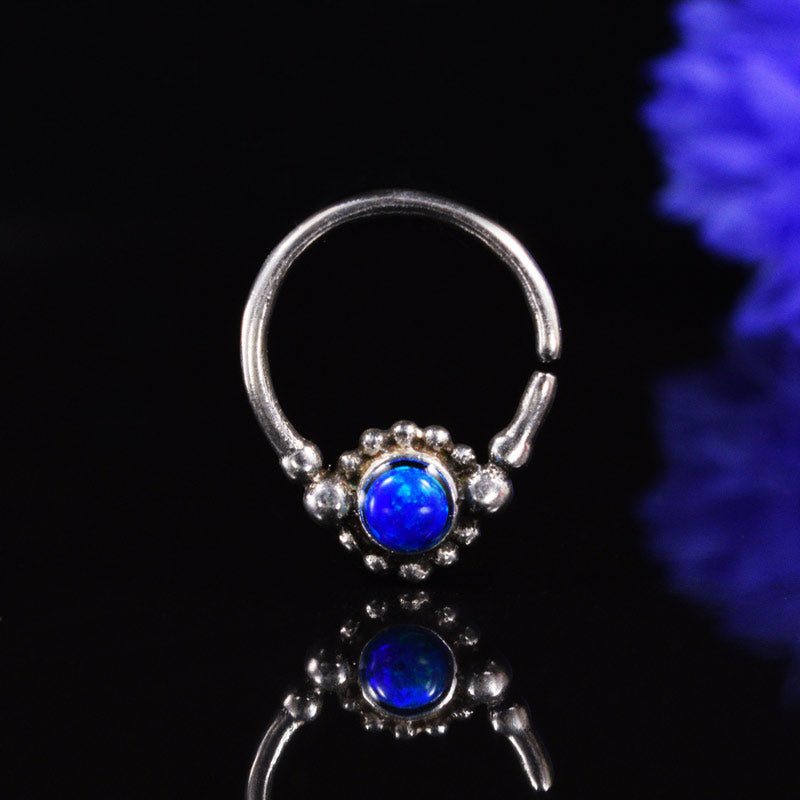 Silver Septum Ring with Blue Opalite Stone 'Geraja'