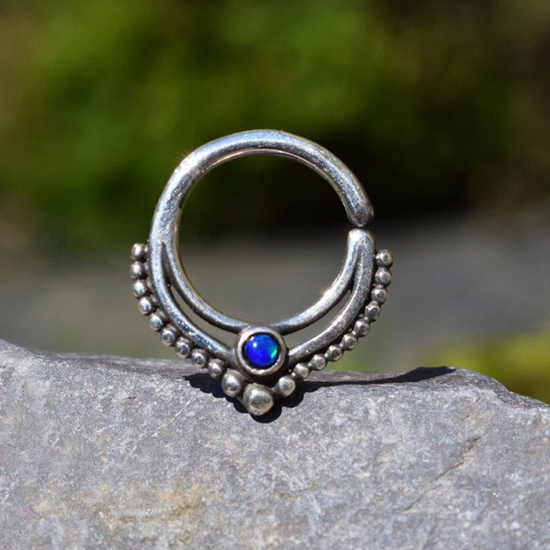 Silver Septum Ring with Deep Blue Opal