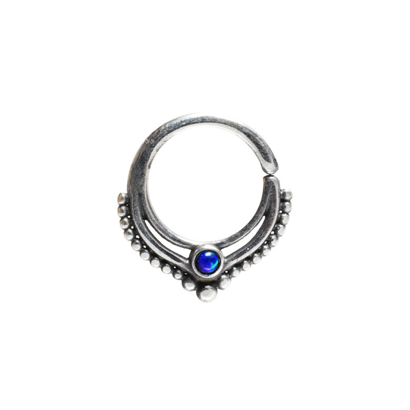 Tribal Silver Septum Ring with Deep Blue Opal