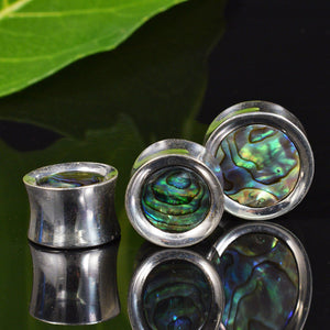 Silver Plated Flesh Plugs with Abalone