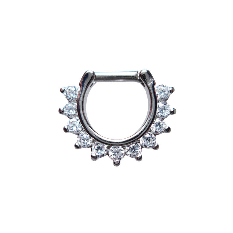Septum Clicker Ring with Clear Gems