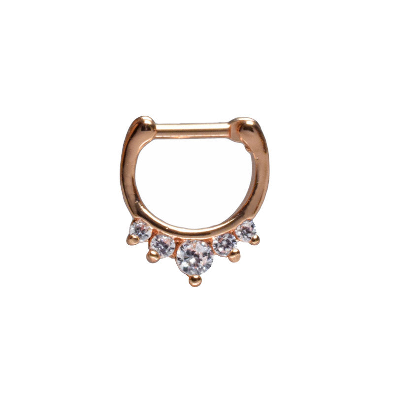 Small Rose Gold Septum Clicker with 5 Gems
