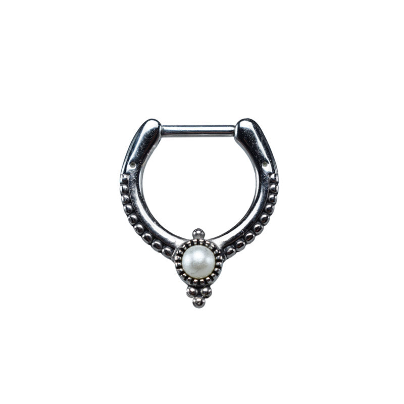Vintage Style Septum Clicker with Pearl