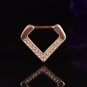 Rose Gold Chevron Septum Clicker with Gems