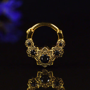 Gold Vintage Style Septum Clicker with Onyx Stones