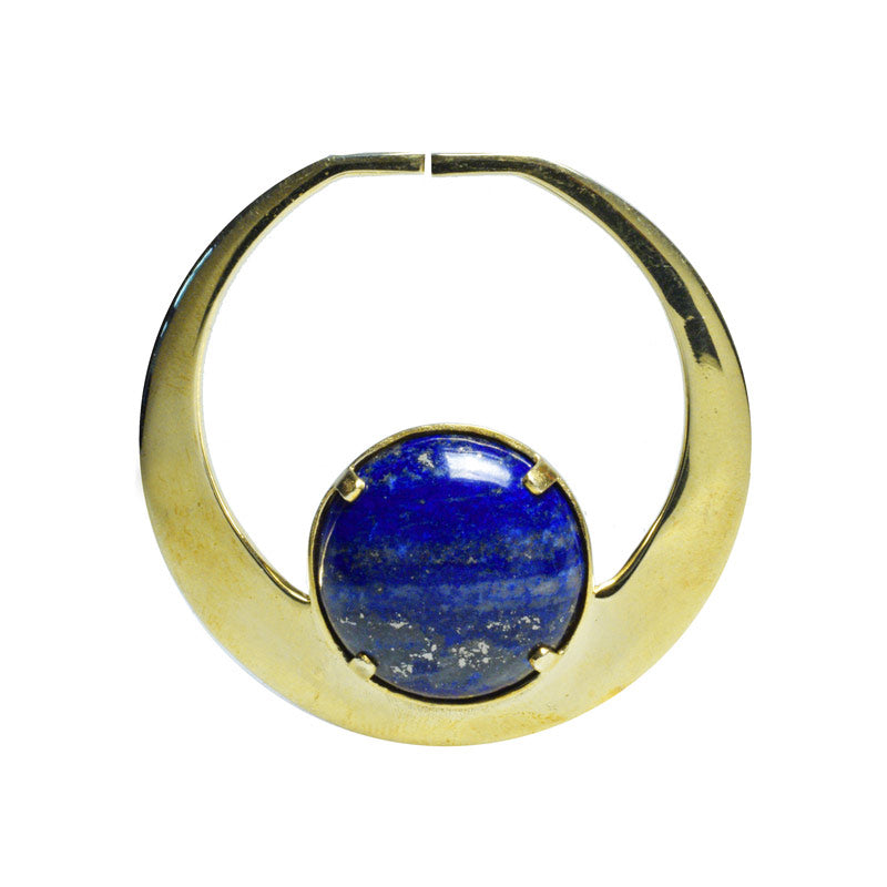 Hoop for Tunnels with Large Lapis Lazuli Stone