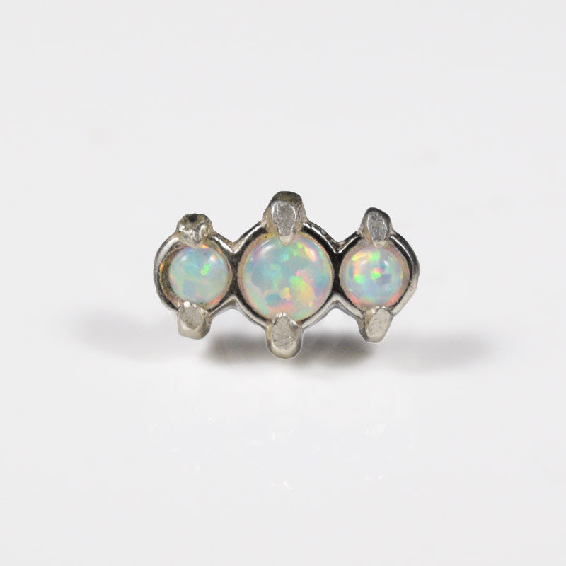 Threadless White Opal Trinity in 925 Silver