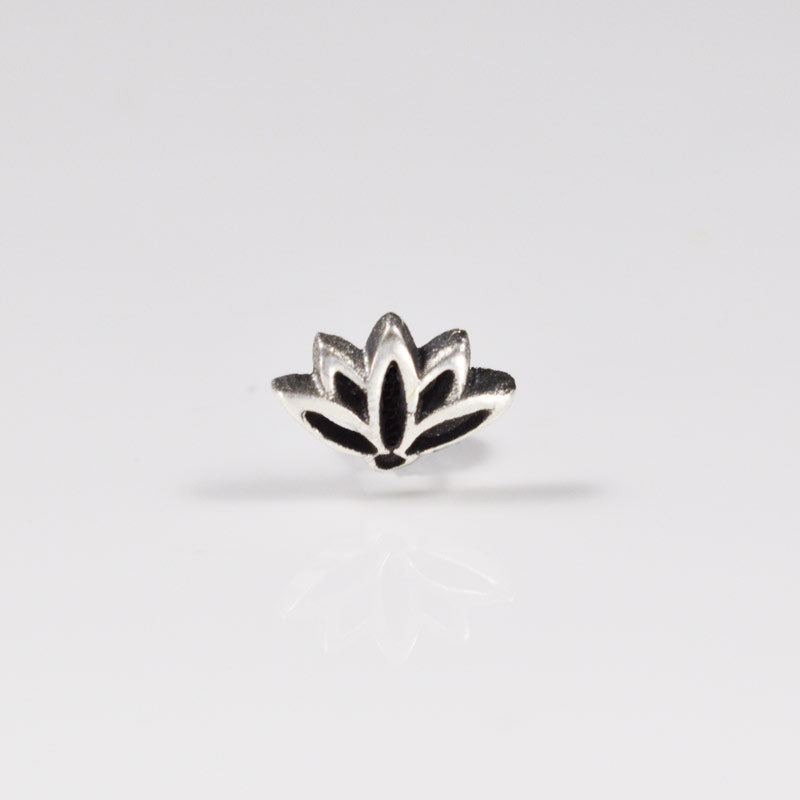 Threadless Lotus Flower in 925 Silver