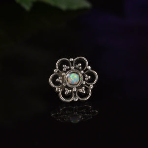 Threadless Flower Mandala in 925 Silver with Opalite Stone