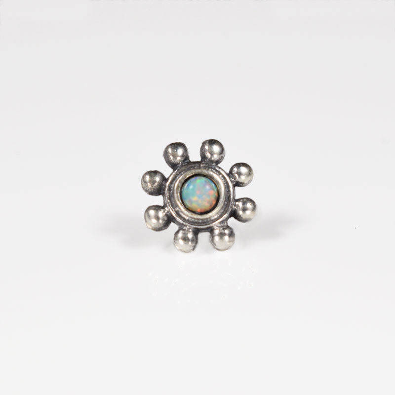 Threadless End in 925 Silver with White Opalite Stone