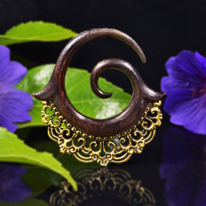 Wood and Brass Ear Spiral