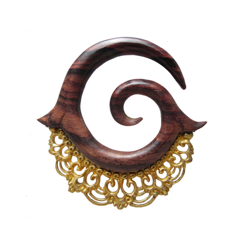 Wood and Brass Spiral Ear Hangers