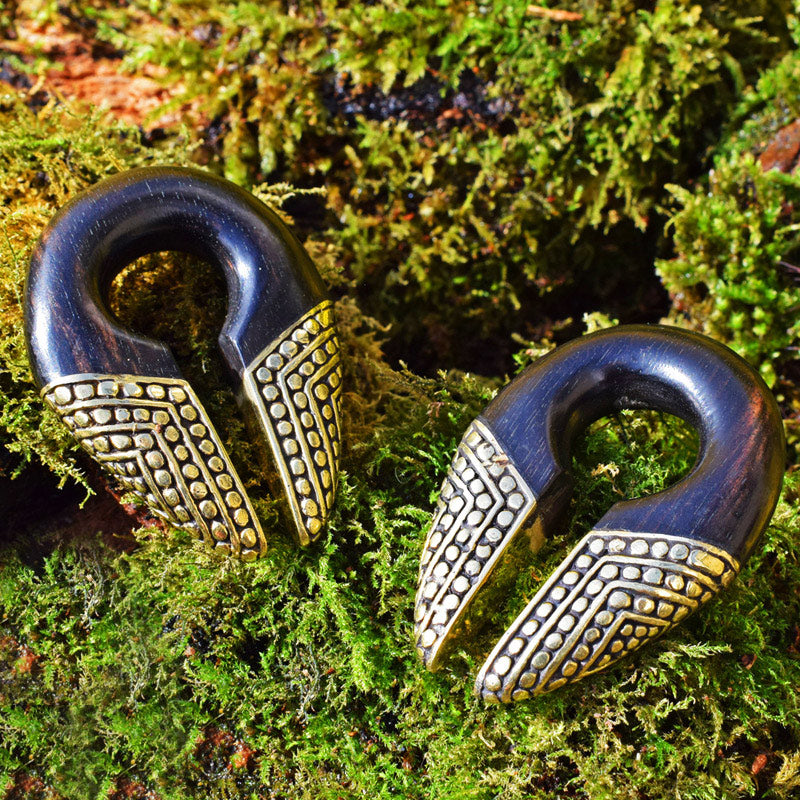 Wood and Brass Keyhole Ear Weights