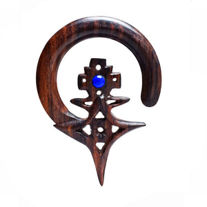 Taureg Cross Ear Hangers in Wood