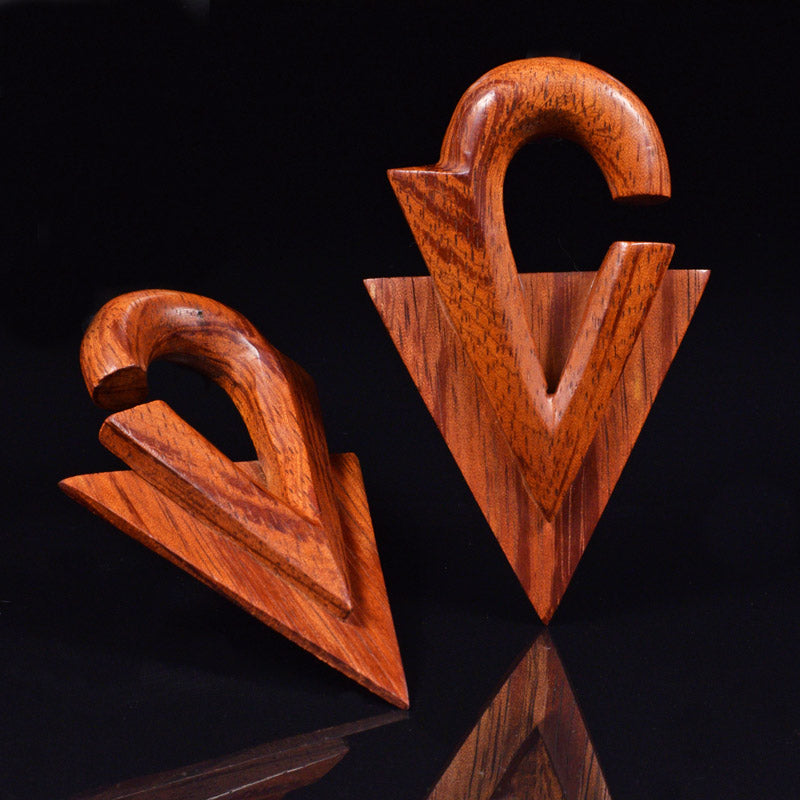 Wooden Ear Hangers, Chevron Design