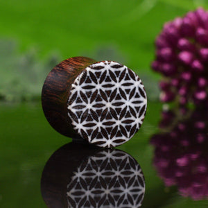 Flower of Life Wood Ear Plugs