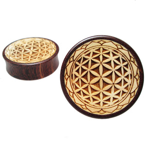 Mandala Flesh Plug in Tamarind Wood