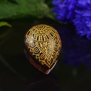Inverted Teardrop Flesh Plug with Gold Mehendi Design