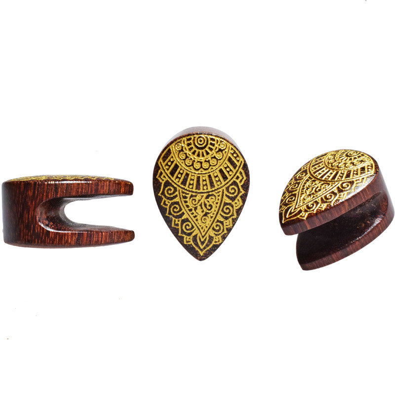 Spade Flesh Plug with Gold Mehendi Design