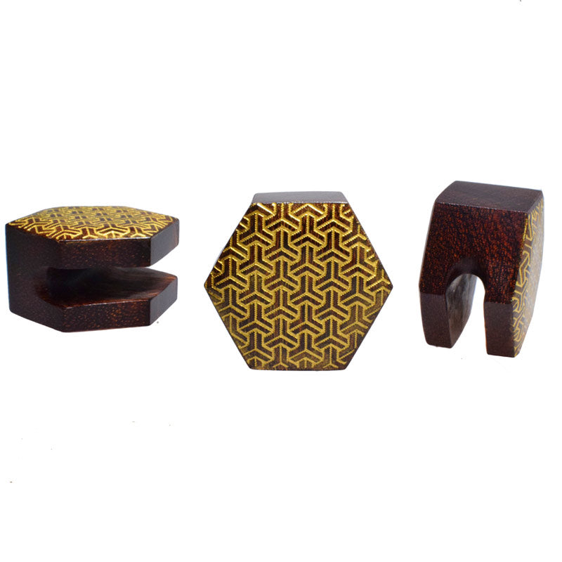 Tamarind Wood Plug with Interlocking Geometric Design
