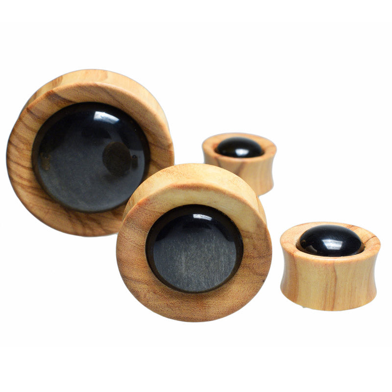 Olive Wood and Gold Obsidian Flesh Plugs