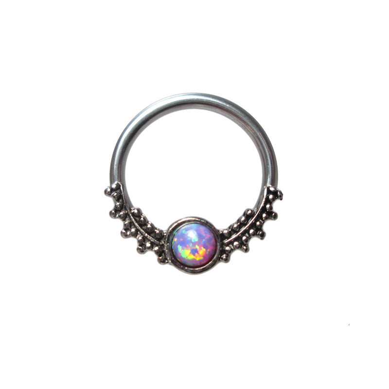 Tribal BCR Ring with Purple Opalite Stone