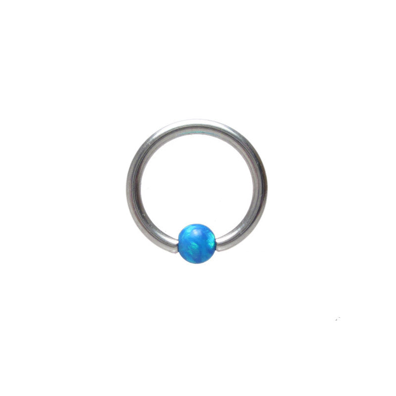Small BCR Ring with Blue Opalite Ball