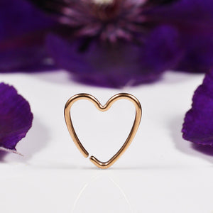 Daith Heart Ring in Rose Gold