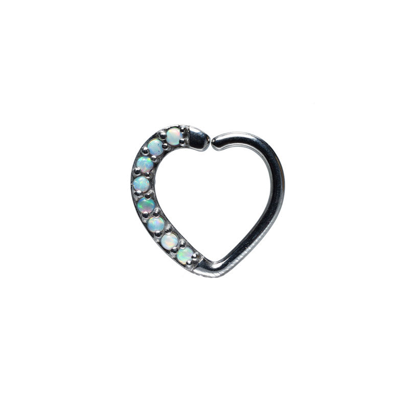 Daith Ring Opal Heart for Right Ear