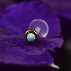 Brass Labret with White Opal