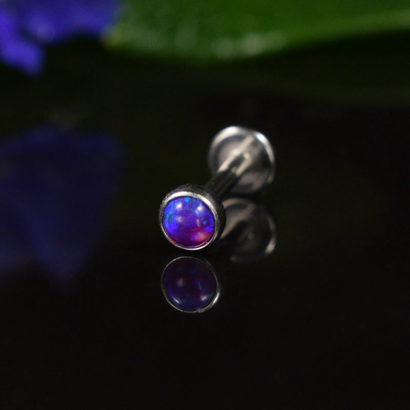 Labret with Purple Blue Opalite Stone