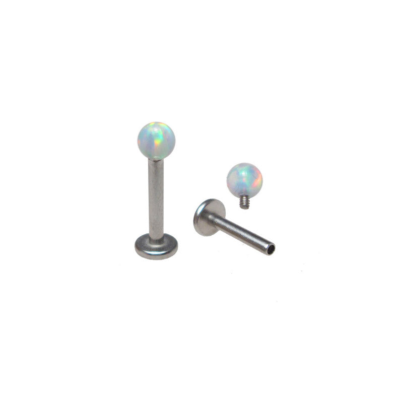 Internally Threaded Opalite Ball Labret