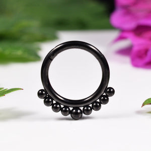 Hinged Segment Ring with Beads, Black