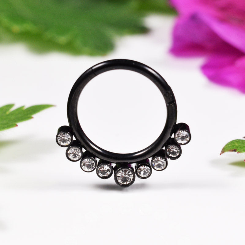 Black Hinged Segment Ring with Jewels