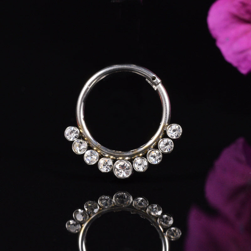Surgical Steel Hinged Segment Ring with Jewels