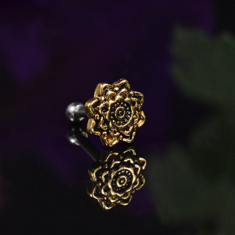 Flower Mandala Ear Bar for Tragus, Helix etc