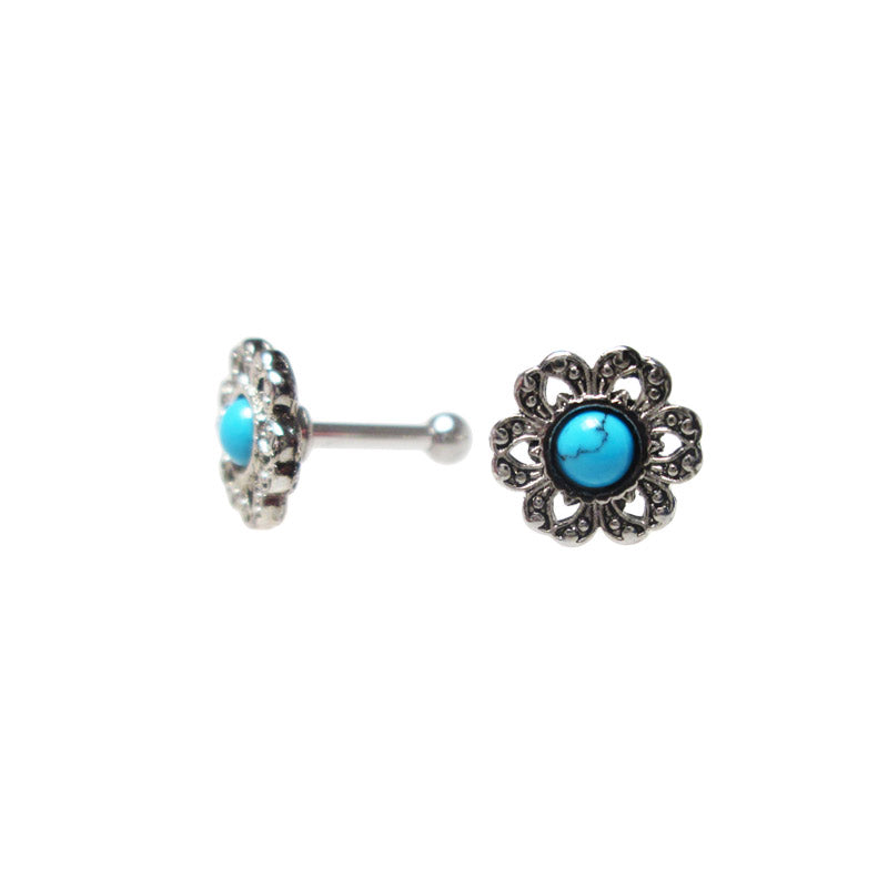 Turquoise Flower Ear Piercings Bar