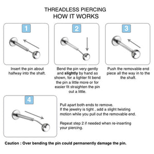 Threadless Piercing Labret in 1.2mm Clear PTFE