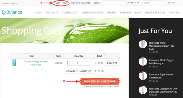 Online Ordering Guide   Exuviance Singapore: Skin Care Products and