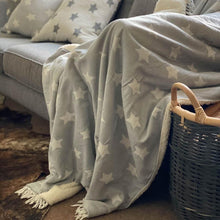 Load image into Gallery viewer, Star Fleece Back Throw Pale Grey