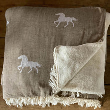 Load image into Gallery viewer, Horse Fleece Back Throw Stone
