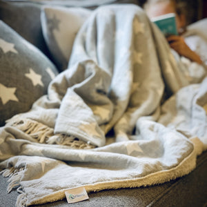 Star Fleece Back Throw Pale Grey