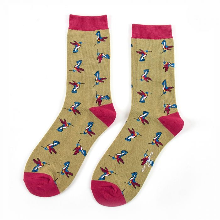 Bamboo Socks - Hummingbirds Olive