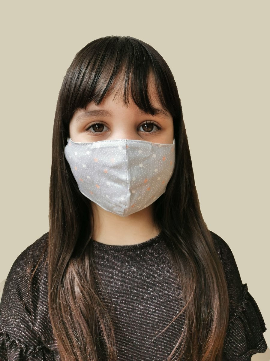 Kids face mask with filter pocket and filters