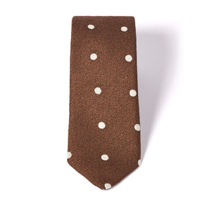 Brown Premium Tie with White Dots