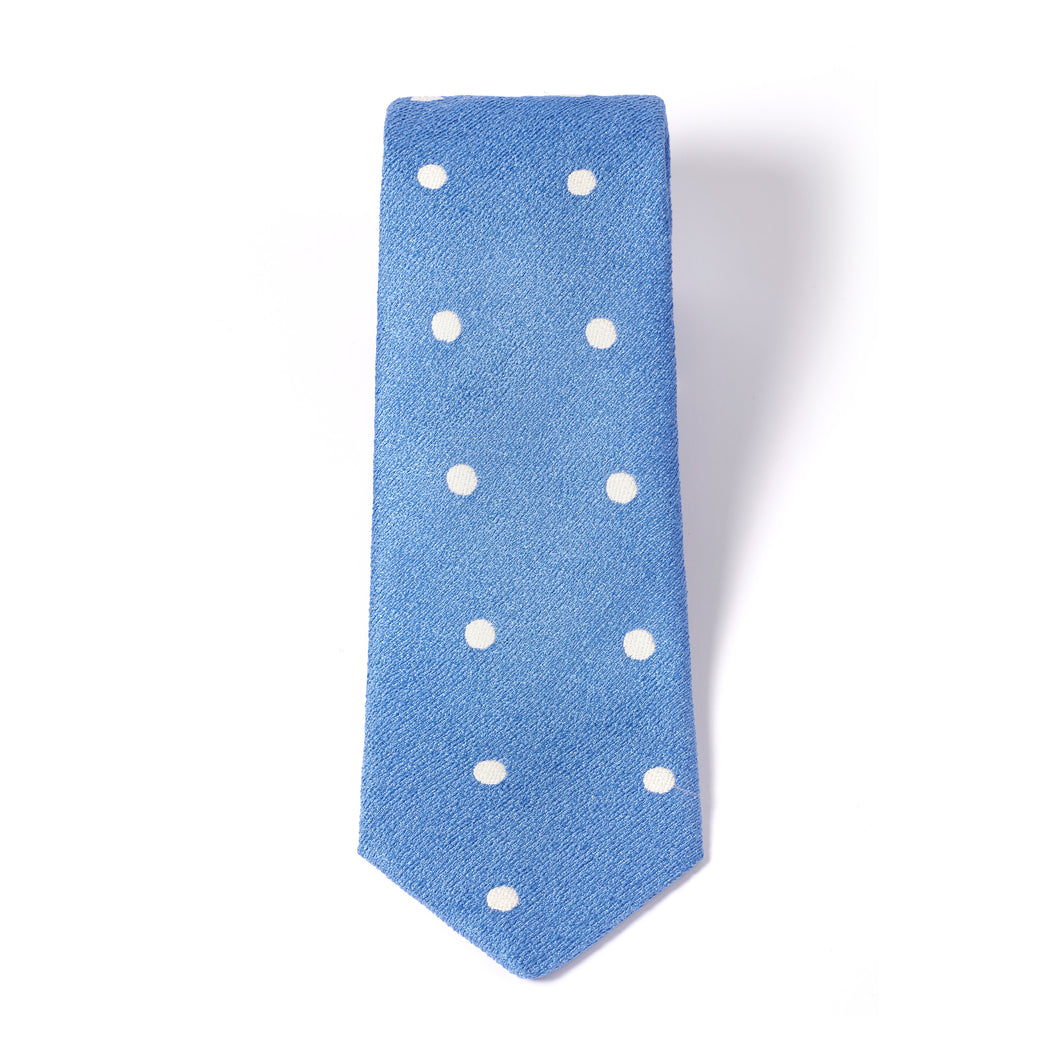 Blue Premium Tie with White Dots