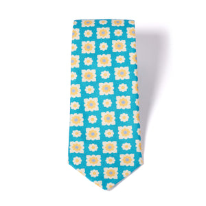 Light Blue Printed Flower Silk Tie
