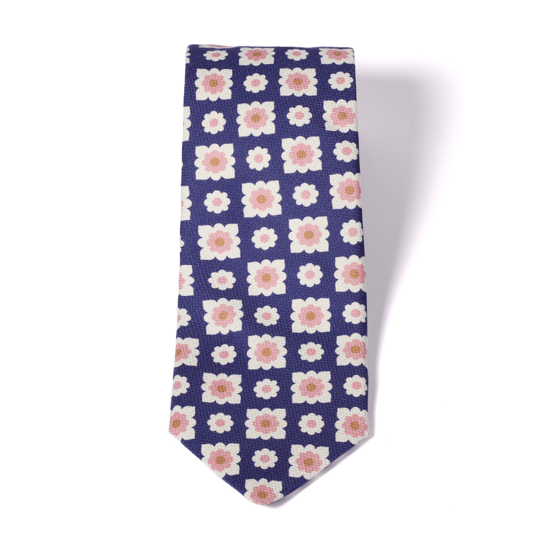 Navy blue printed pink flower