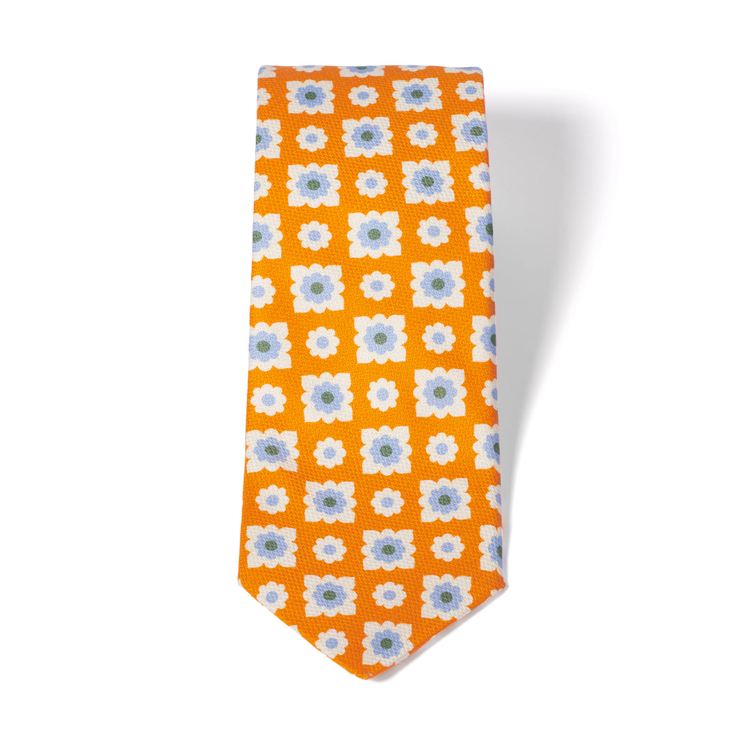 Orange Printed Flower Silk Tie